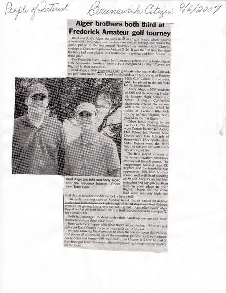 File:Golf, Brad and Andy Alger 3rd in golf from The Brunswick Citizen, Sepember 6, 2007.pdf