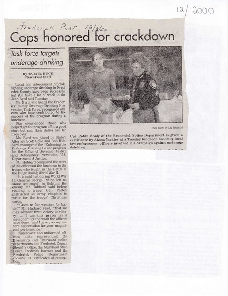 File:Cpl Robin Brady Honored at Luncheon from The Frederick News Post, December 6, 2000 .pdf