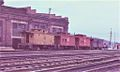 Caboose track lineup next to the old Roundhouse in 1974..jpg