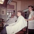 YMCA Barbershop early 1960's George Merriman and Larry Buzzard the barbers The customers Peck Porter and Gary Greenfield.jpg