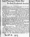 Frederick Service to End from the Frederick Post, October 31, 1949.jpg