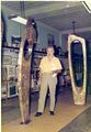 Raymond G. Barger with a display of his fine sculptures in the Kaplon Building in the early 1970s..jpg