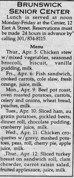 File:Senior Center 2001 Lunch Menu from The Brunswick Citizen, April 5, 2001.jpg