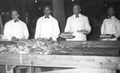 Waiters at a crab feed in the 1950s..jpg