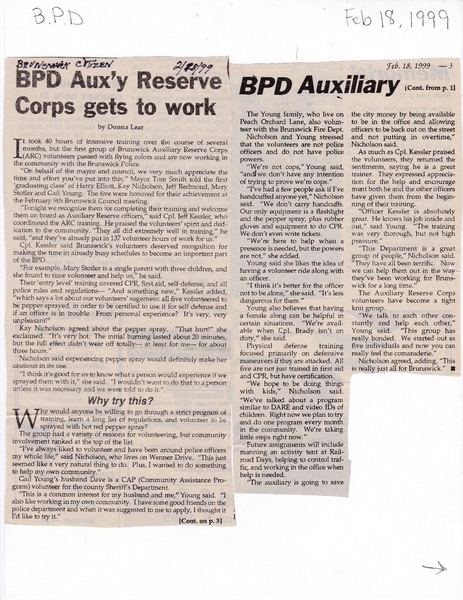 File:Police Department Auxiliary Corps Get to Work from The Brunswick Citizen, February 18, 1999.pdf