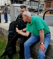 Mayor Jeff Snoots, Officer Brandon and Trex at Brunswick First Friday, May 4, 2018.jpg