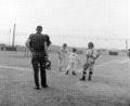 Little league regional all star game, July 1955, Lions player crosses home plate.jpg